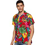 Stylore Men's Hawaiian Shirt Short-Sleeves Front Pocket Big Hibiscus