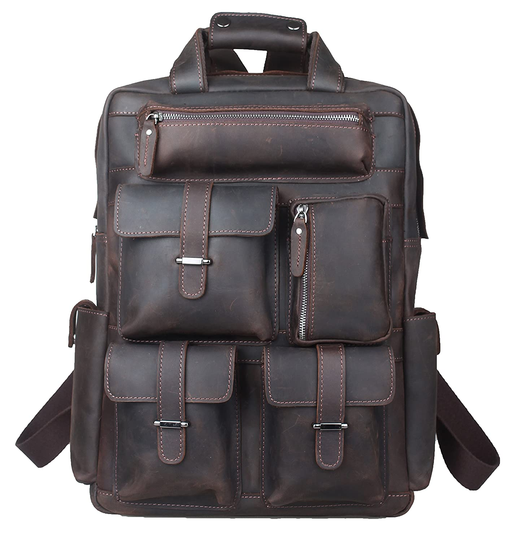 [(チョウギュウ) 潮牛] ミリタリー風 本革 レザー メンズ リュックサック バックパック 2WAY ヌメ革 厚手牛革 超大容量 旅行 鞄 ダークブラウン   B07FX2ZJ7R