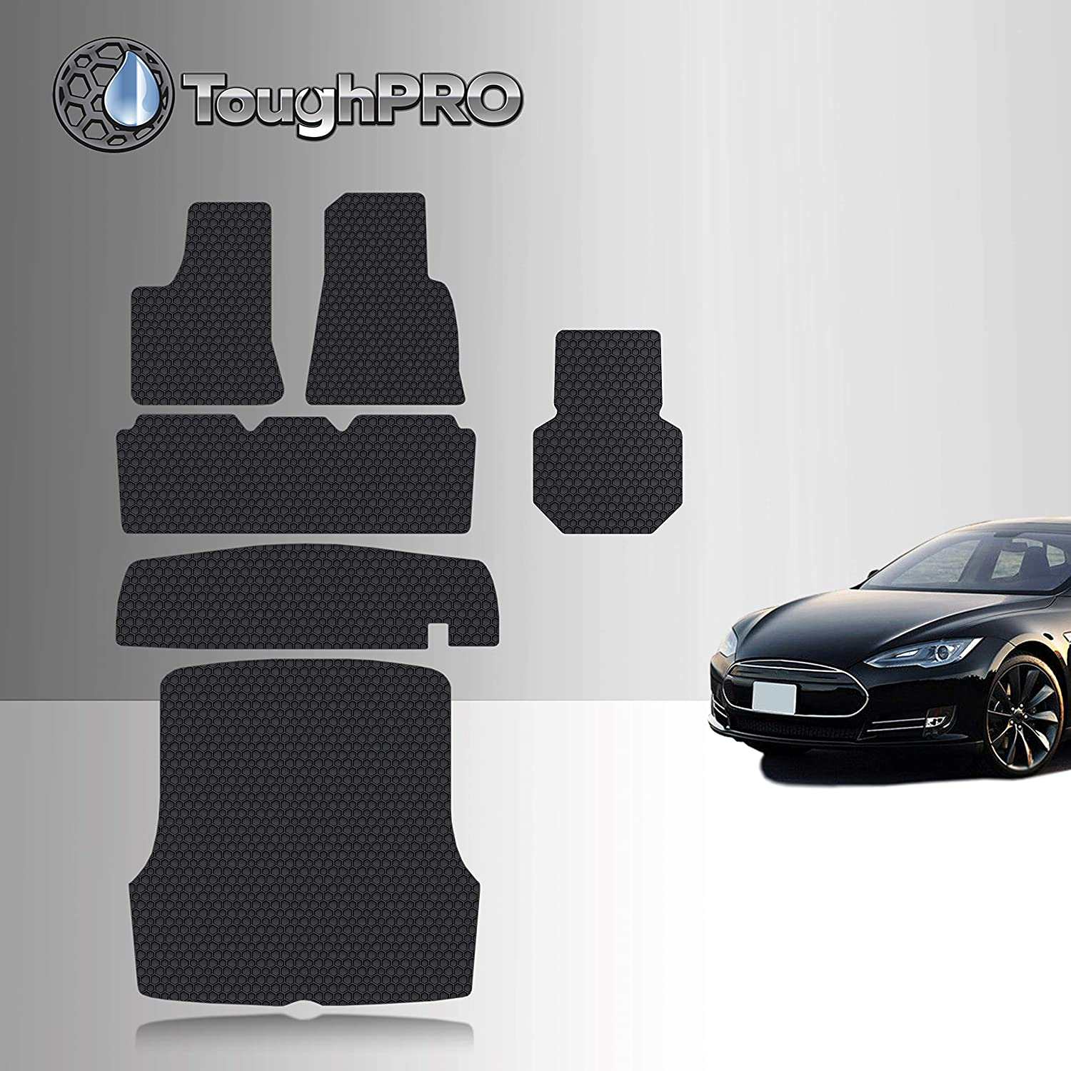 TOUGHPRO Floor Mat Accessories Compatible with Tesla Model S - All Weather - Heavy Duty - (Made in USA) - Black Rubber - 2012, 2013, 2014, 2015 (Complete Set)
