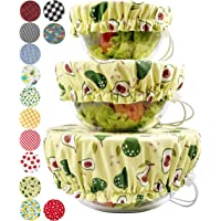 Handmade Reusable Cotton Fabric Bowl Covers - Two Layers of Fabric - Set of 3 (Avocado)