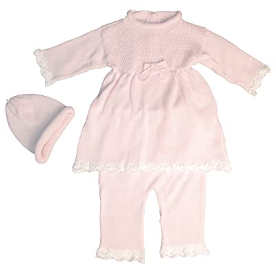 100% Cotton Knit Baby Pink Infant Girls 3 Piece Dress Pant Set with Cap Gift Set