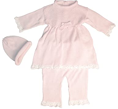 549666d5b 100% Cotton Knit Baby Pink Infant Girls 3 Piece Dress Pant with Cap Gift Set