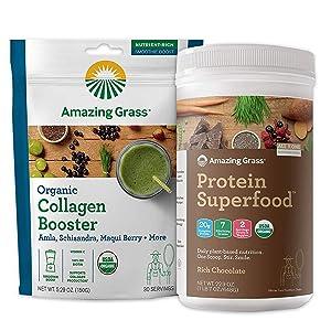 Amazing Grass Protein Superfood & Collagen Booster Bundle - Protein Superfood Powder Rich Chocolate & Vegan Collagen Greens Powder Smoothie Booster