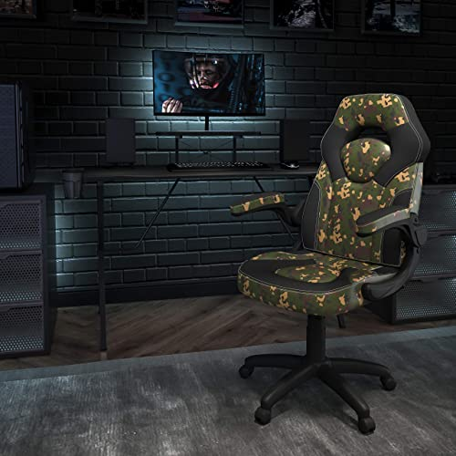 Flash Furniture Black Gaming Desk and Camouflage/Black Racing Chair Set