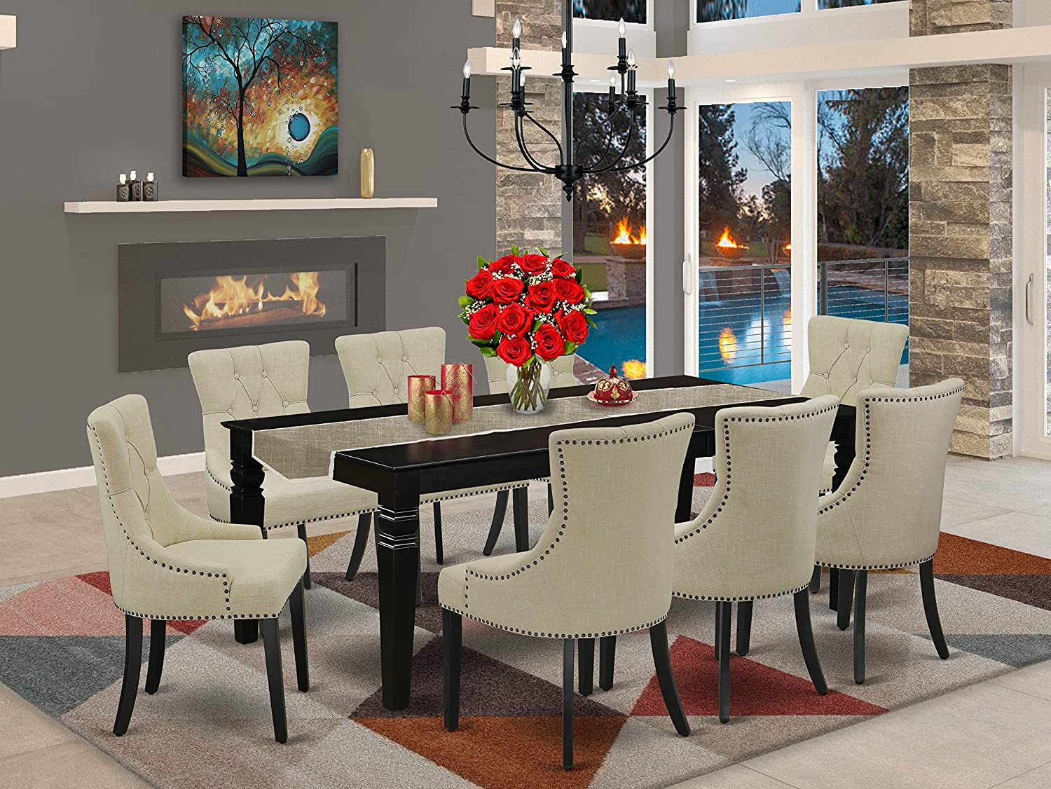 LGFR9-BLK-02 9Pc Dining Set Includes a Rectangle Dining Table with Butterfly Leaf and Eight Parson Chairs with Light Beige Fabric, Black Finish