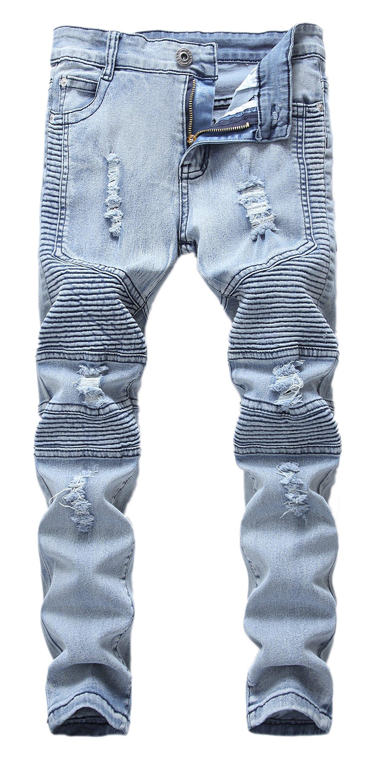 GUNLIRE Boy's Light Blue Biker Jeans Ripped Distressed Skinny Stretch Slim Denim Pants