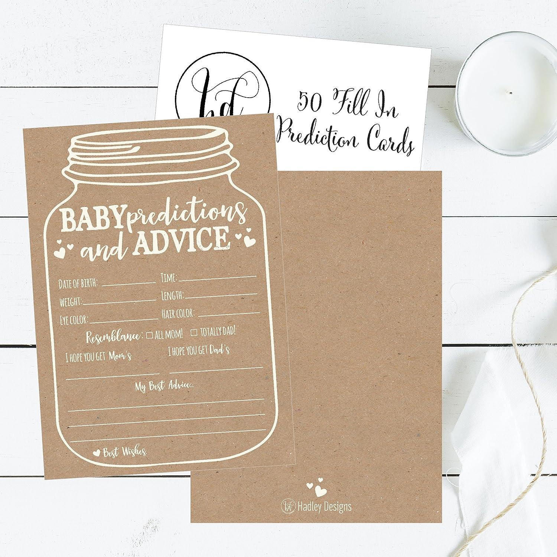 Amazon Com 50 Mason Jar Advice And Prediction Cards For Baby Shower
