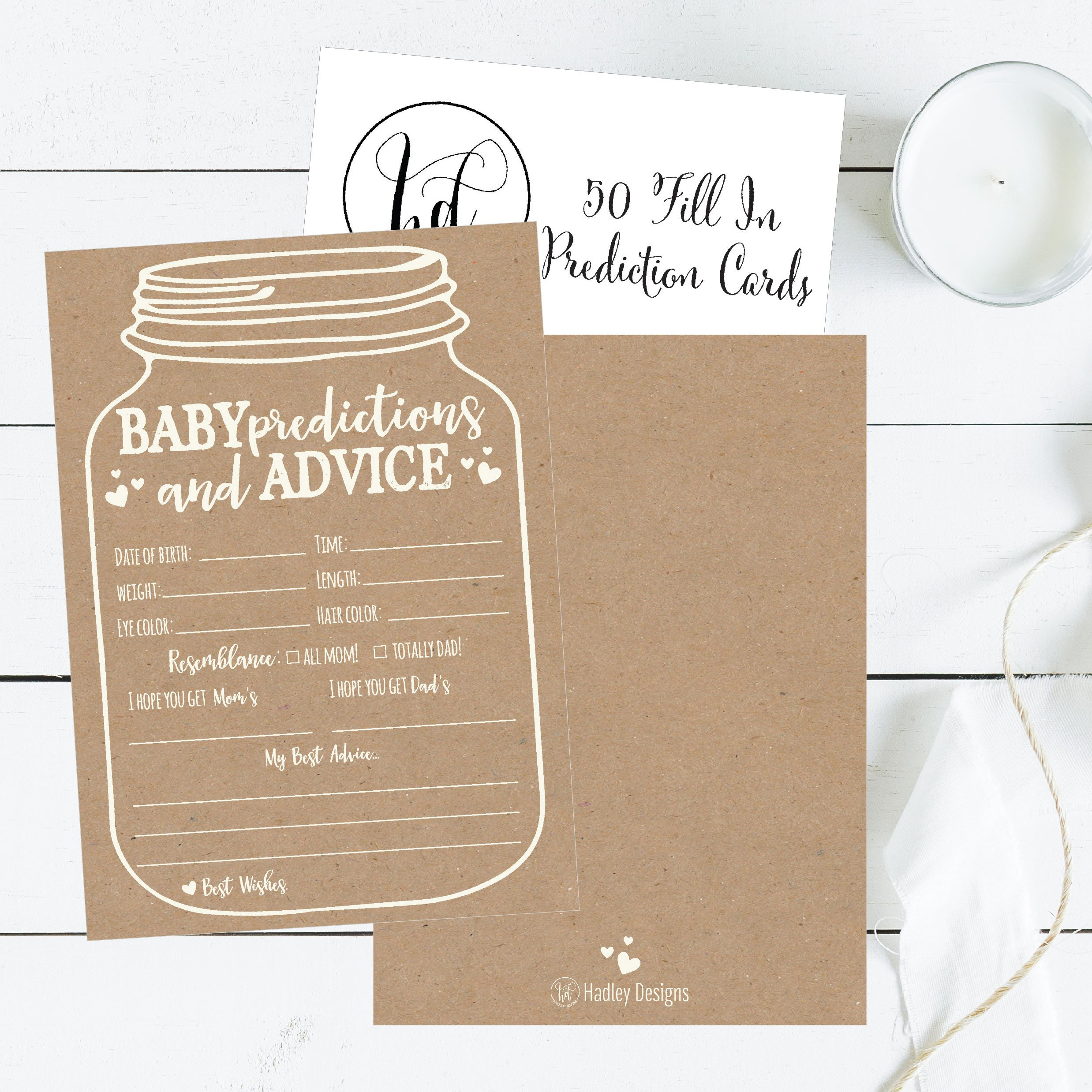 50 Mason Jar Advice and Prediction Cards for Baby Shower Game, New Mom & Dad Card or Mommy & Daddy To Be, For Girl or Boy Babies, New Parent Message Advice Book, Fun Gender Neutral Shower Party Favors by Hadley Designs (Image #5)