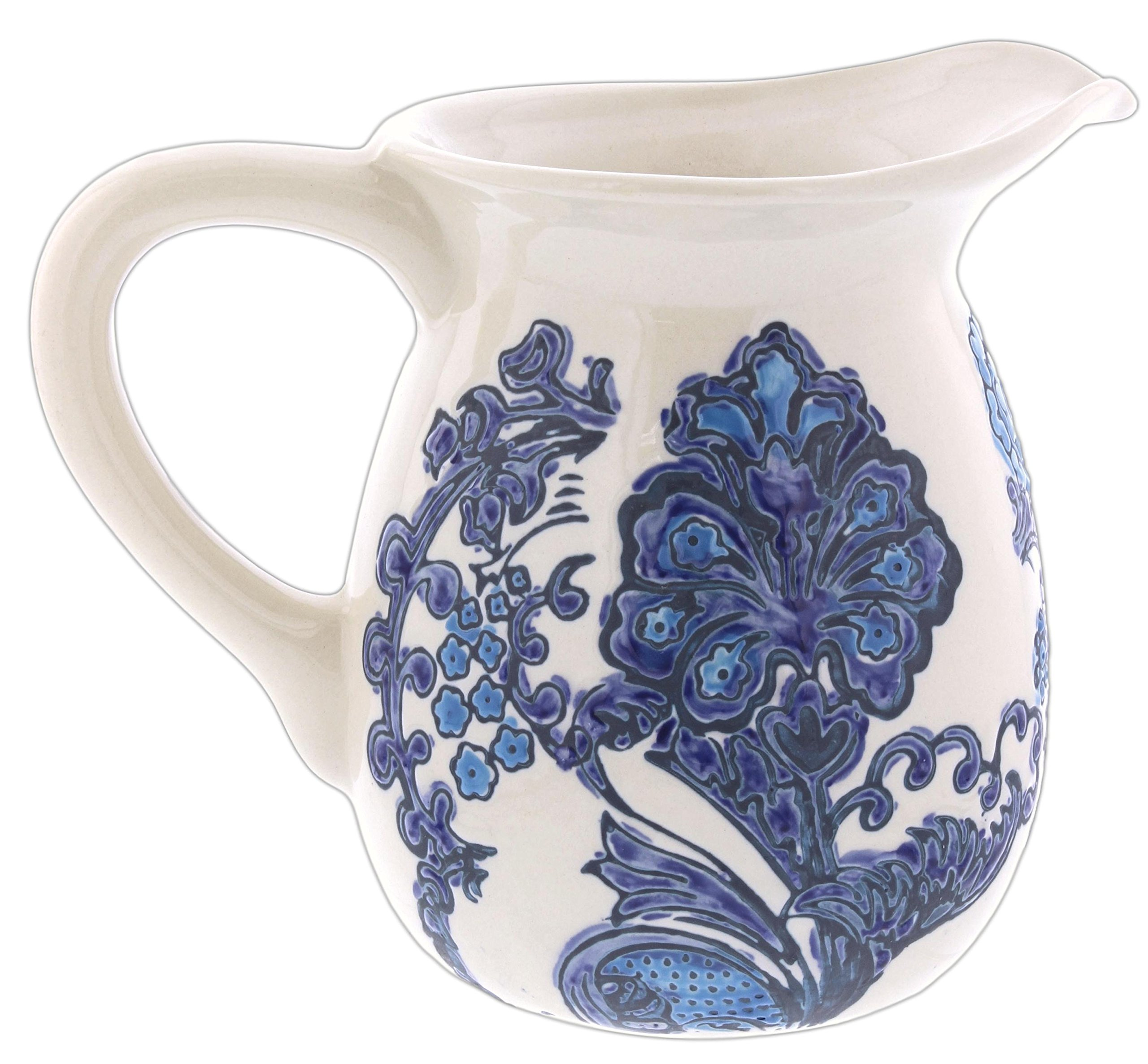 Lucky Winner 7'' Blue & White Delft Style Floral Ceramic Pitcher