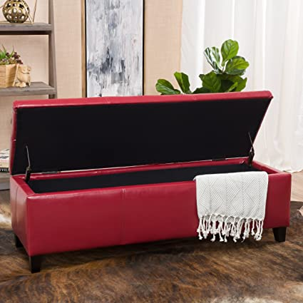 Exceptionnel Skyler Red Leather Storage Ottoman Bench