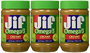 Jif Omega-3 Creamy Peanut Butter, 16 Ounce (Pack of 3)