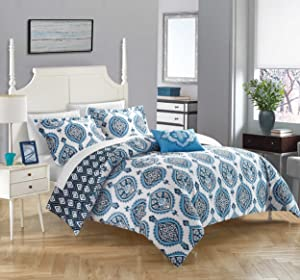 Chic Home Cedar 4 Piece Duvet Cover Set, Queen, Blue
