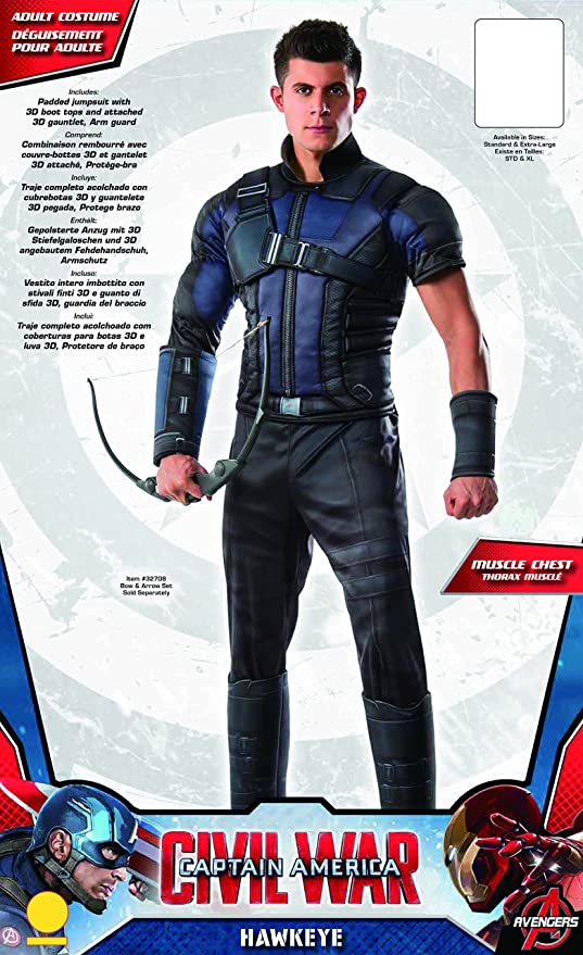 Amazon.com Rubieu0027s Adult Captain America Civil War Deluxe Muscle Chest Hawkeye Costume Clothing  sc 1 st  Amazon.com & Amazon.com: Rubieu0027s Adult Captain America Civil War Deluxe Muscle ...