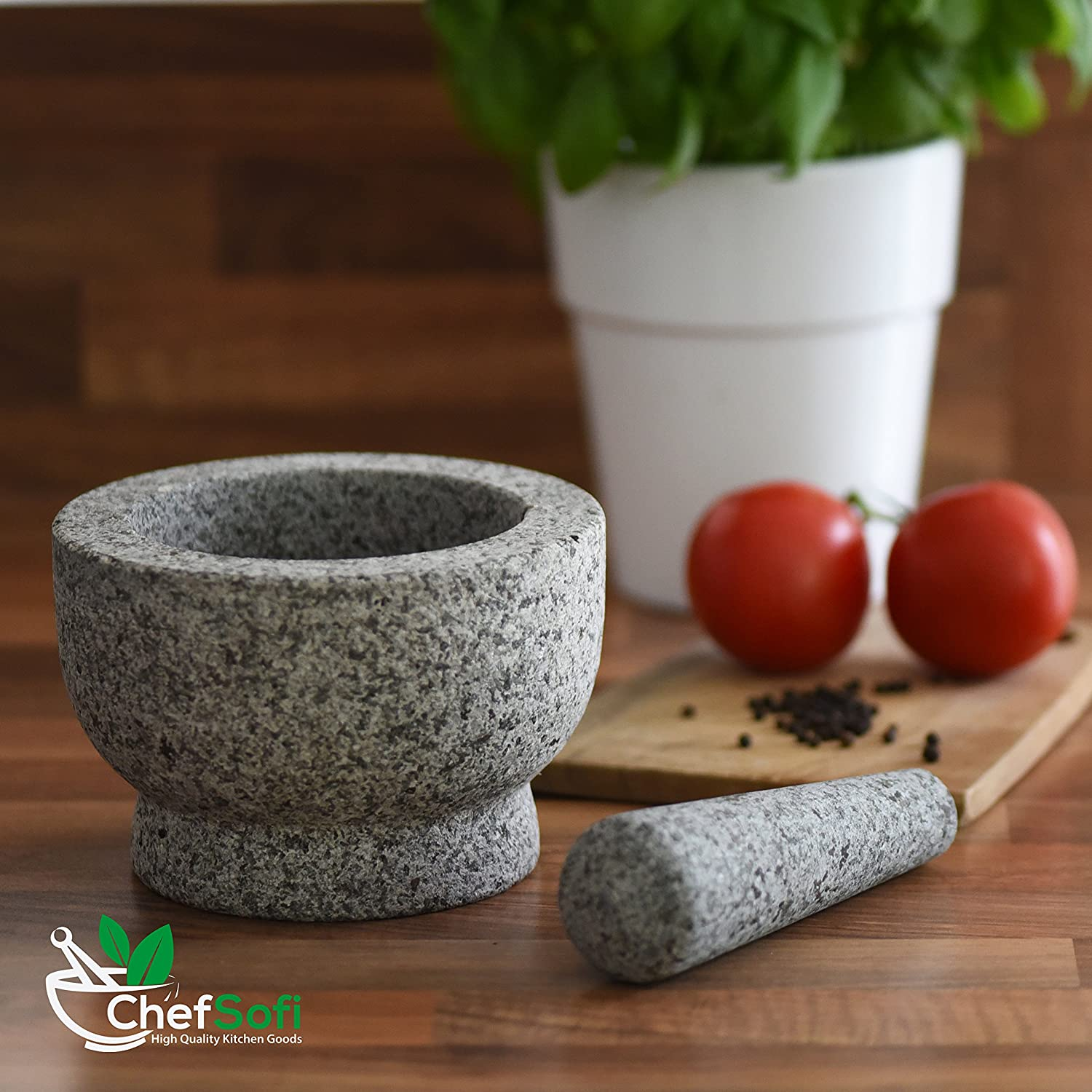 ChefSofi Mortar and Pestle Set  6 Inch  2 Cup Capacity  Unpolished Heavy Granite for Enhanced
