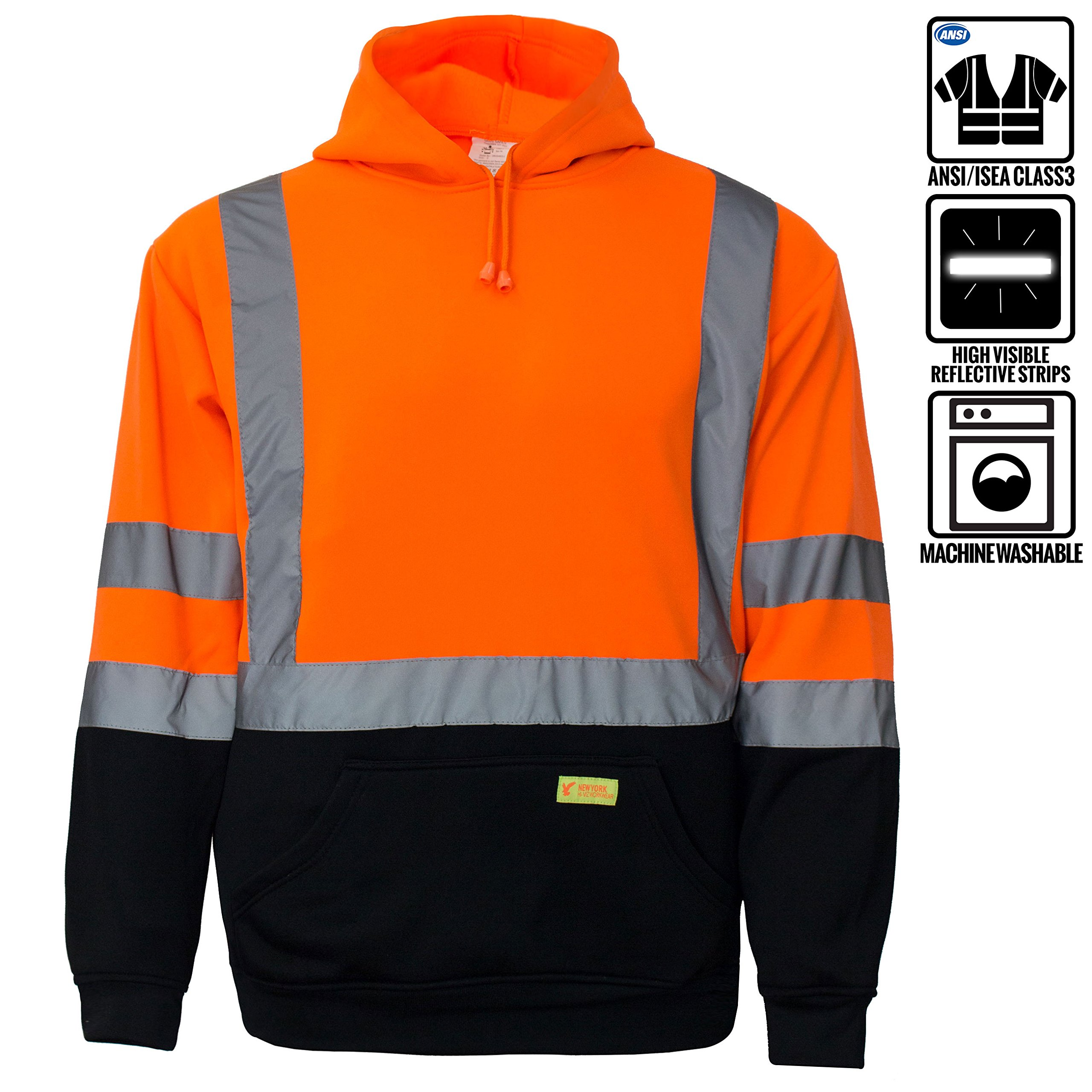 New York Hi-Viz Workwear H8311 Men's ANSI Class 3 High Visibility Class 3 Sweatshirt, Hooded Pullover, Knit Lining, Black Bottom (Orange, Large)