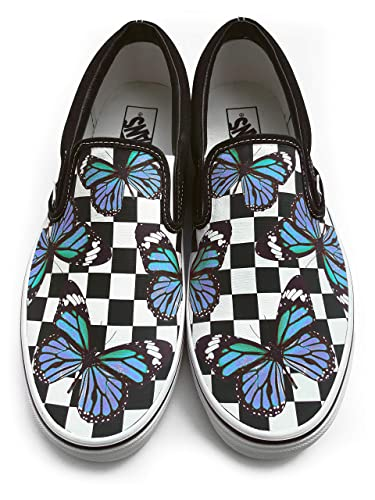fashion design favorable price best sale Checkerboard Blue Monarch Butterfly Vans ... - Amazon.com