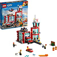 LEGO 509-Pieces City Fire Station Building Kit with Emergency Vehicle Toys includes Firefighter Minifigures for Creative Play