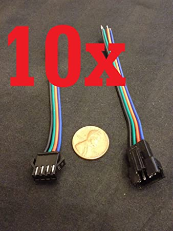 10 Pcs//set 4Pin Female Male Connector Cable For RGB 3528 5050 LED Strip Lights