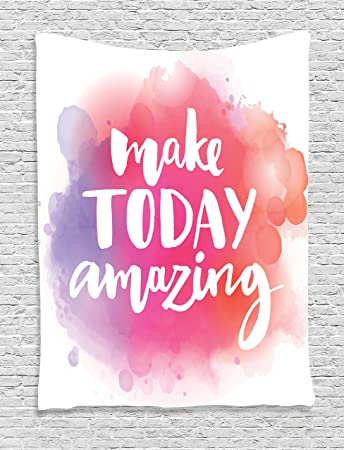 Ambesonne Quotes Decor Collection Make Today Amazing Inspirational Quote On Colorful Watercolor Roll Over Image To