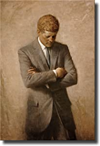 "John F. Kennedy Full Portrait, JFK Wall Picture Art on Stretched Canvas, Ready to Hang! (11"" x 14"")"