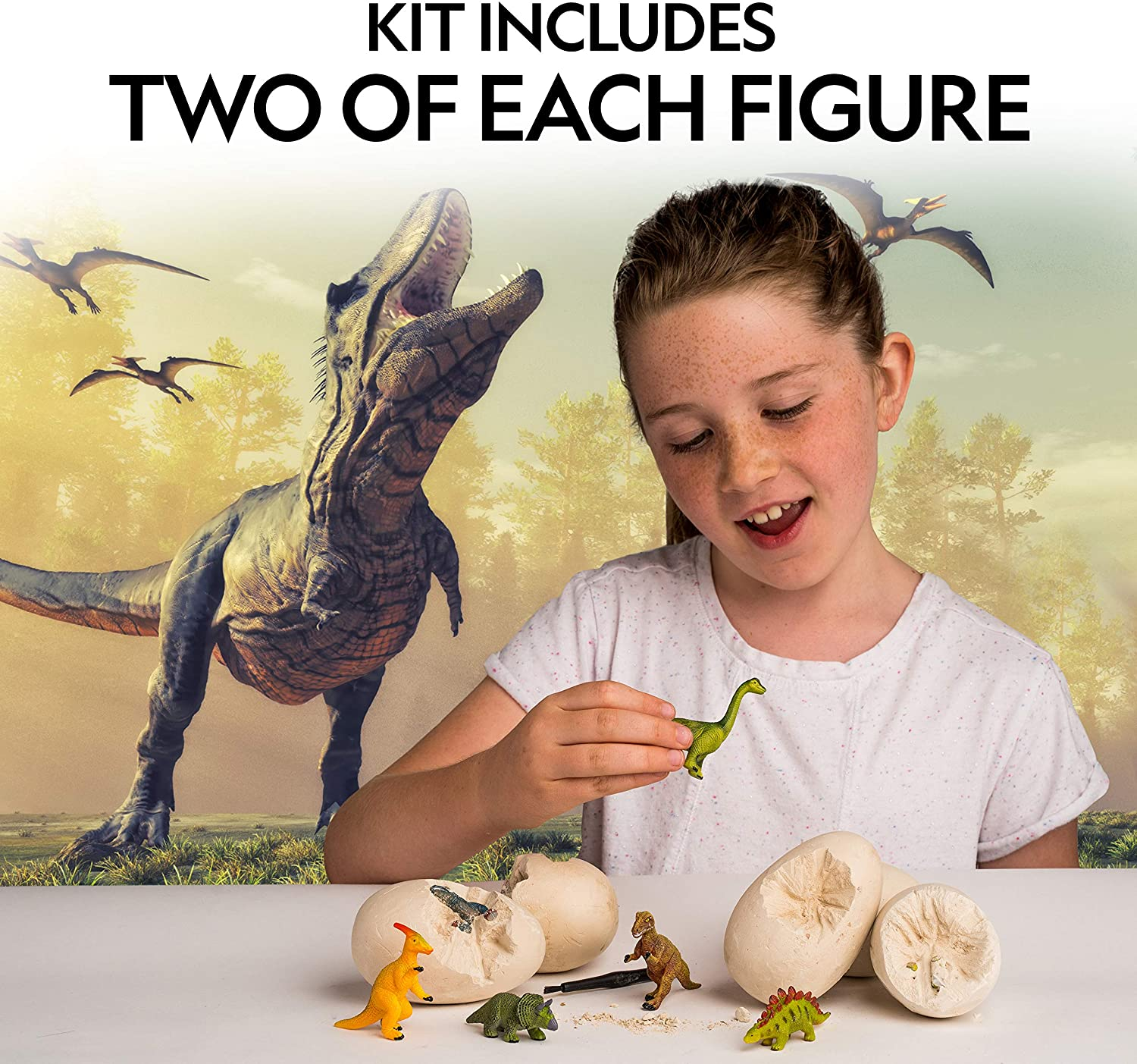 Perfect Activity for Egg Hunt Or Dig Party 12 Excavation Tool Sets 12 Dino Shaped Dig Bricks with Dinosaur Figures Inside National Geographic Dinosaur Dig Kit Great STEM Toy for Boys and Girls