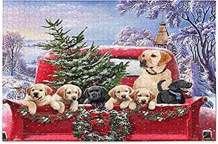 Xmas Red Truck Dog Jigsaw Puzzle Winter Christmas Tree 500 Pieces Puzzles Educational Intellectual Decompressing Fun Game for Kids Adult Home Wall Decor