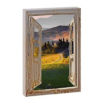 Fensterblick Paesaggio Toskana Panoramabild Im Xxl Format Kunstdruck Auf Leinwand Wandbild Poster Fotografie Verschiedene Formate