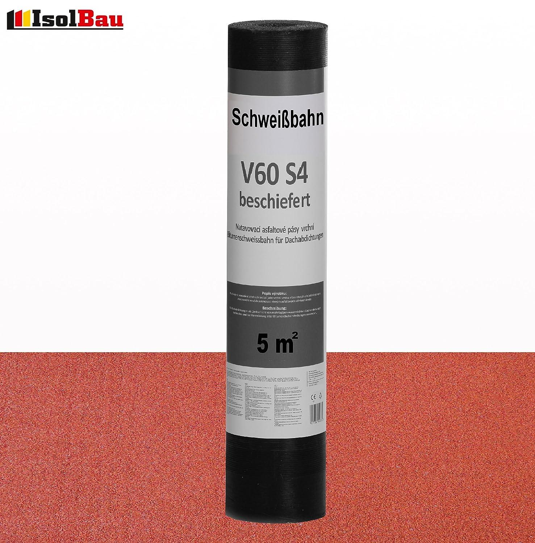 Schwei/ßbahn V60 S4 beschiefert 10 x 5 m/² ROT Bitumenbahn Dachbahn Dachpappe