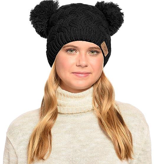 8ae53200c ANGELA & WILLIAM Winter Cute Double Pom Pom Ears Soft Warm Thick Chunky  Knit Beanie Hat