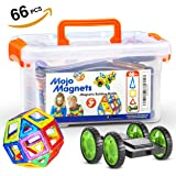 MOJO MAGS - Magnetic Blocks for kids 66 PCS - Magnetic Tiles / Building Toys or Toddlers - Packed in a Plastic Box - Includes Booklet and Pair of Wheels