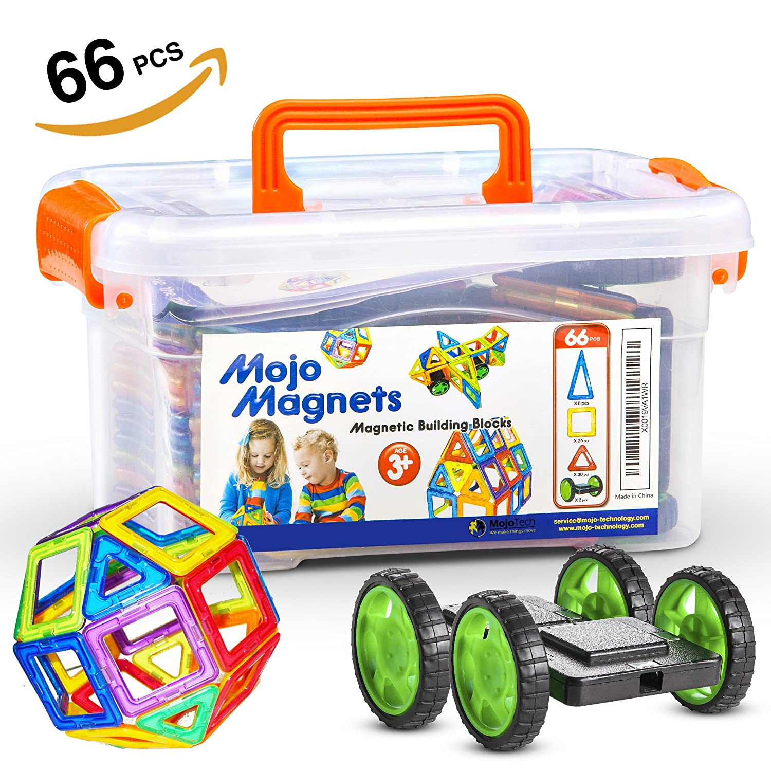 MOJO MAGS - Magnetic Blocks for kids 66 PCS - Magnetic Tiles / Building Toys or Toddlers - Packed in a Plastic Box - Includes Booklet and Pair of Wheels Review