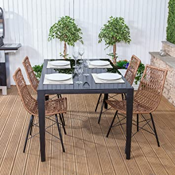 Polynesian Poly Rattan U0026 Steel Outdoor Garden Furniture Dining Table U0026 Chair  Set