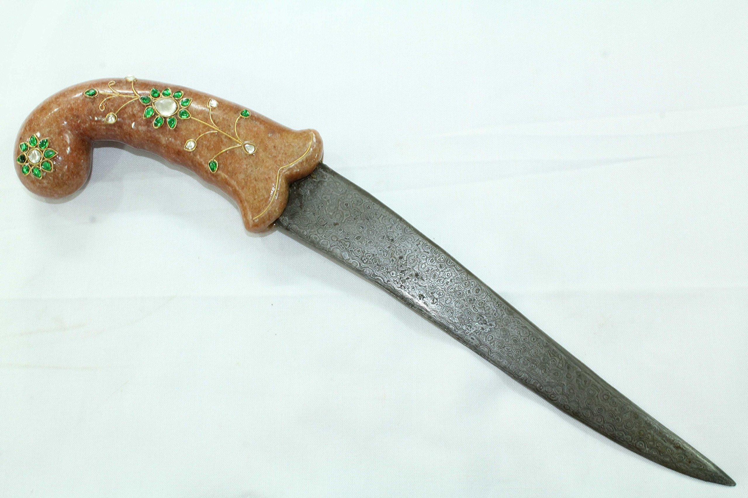 Rajasthan Gems Pink Stone Zircon Jewel Handle Dagger Knife Damascus steel blade