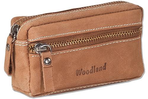 Woodland - cuero bolso de la llave con 2 llaveros hecha de piel de ante suave, sin tratar