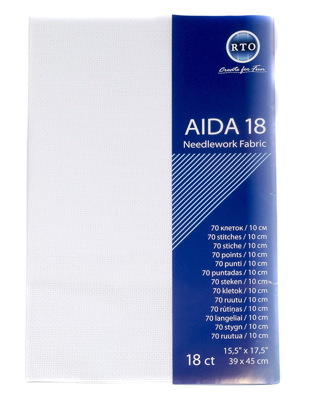 blanco 18 hilos algod/ón 100 por ciento 39 x 45 cm Tela Aida r.t.o