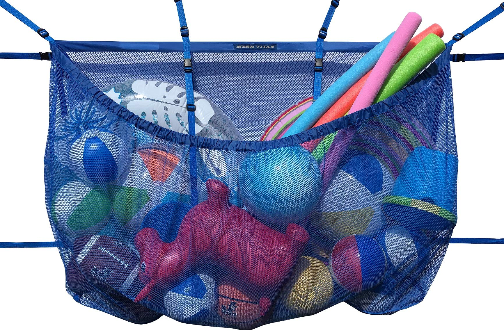 MESH TITAN Hanging Storage Bag, Blue - Adjustable, Versatile Organizer Bag for Pool, Fence, Deck, Garage, Gym - 60'' Pouch Floats, Sports Balls, Inflatable rafts, Toys, Yoga More by MESH TITAN