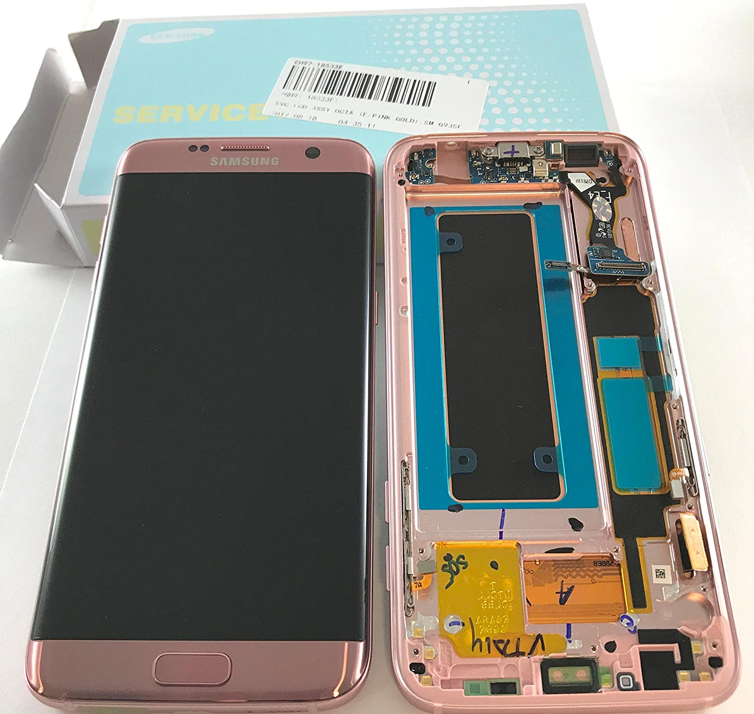 Samsung Genuine Galaxy S7 Edge G935F LCD + Touch Screen Digitizer Complete  With frame, home button, side keys, microphone and usb flex, ( NOT