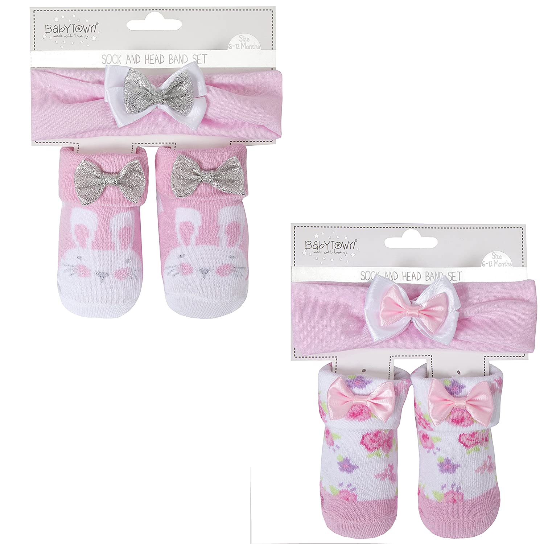BabyTown Baby Girls Pink Novelty Print Socks & Headband Set Baby Town