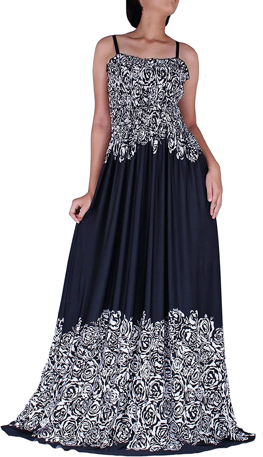 Women Maxi Party B&W Dress Plus Size Casual Evening Dinner Black White Floral