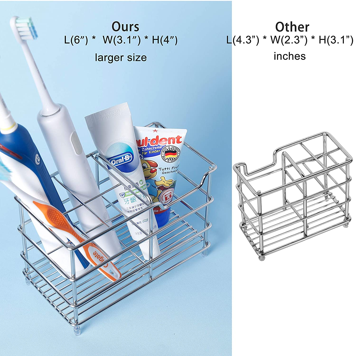 WEBI 6 Inch Stainless Steel 304 Toothbrush, Electronic Toothbrush, Toothpaste Holder Organizer Stand Case /– Large Capacity, Wire, Quick Drain, Anti-dust, 4 + 1 Slots