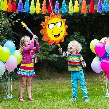 per Feste di Compleanno dei Bambini Grande Unisex da Riempire Relaxdays- Pignatta a Forma di Sole Sorridente 10025180 da Appendere Giallo//Arancione in Carta