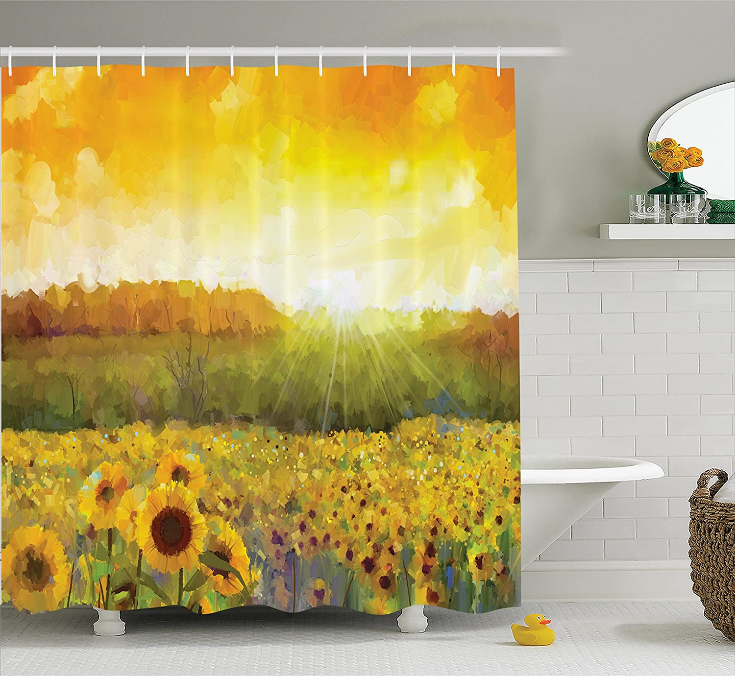 Sunflower bathroom accessories - Sunflower Decor Shower Curtain Set By Ambesonne Landscape Art With A Golden Sunflower Field And