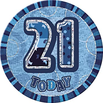 BLING Party Decorations And Tableware For 21st Birthday In Blue Glitz Sparkle 21 Badge