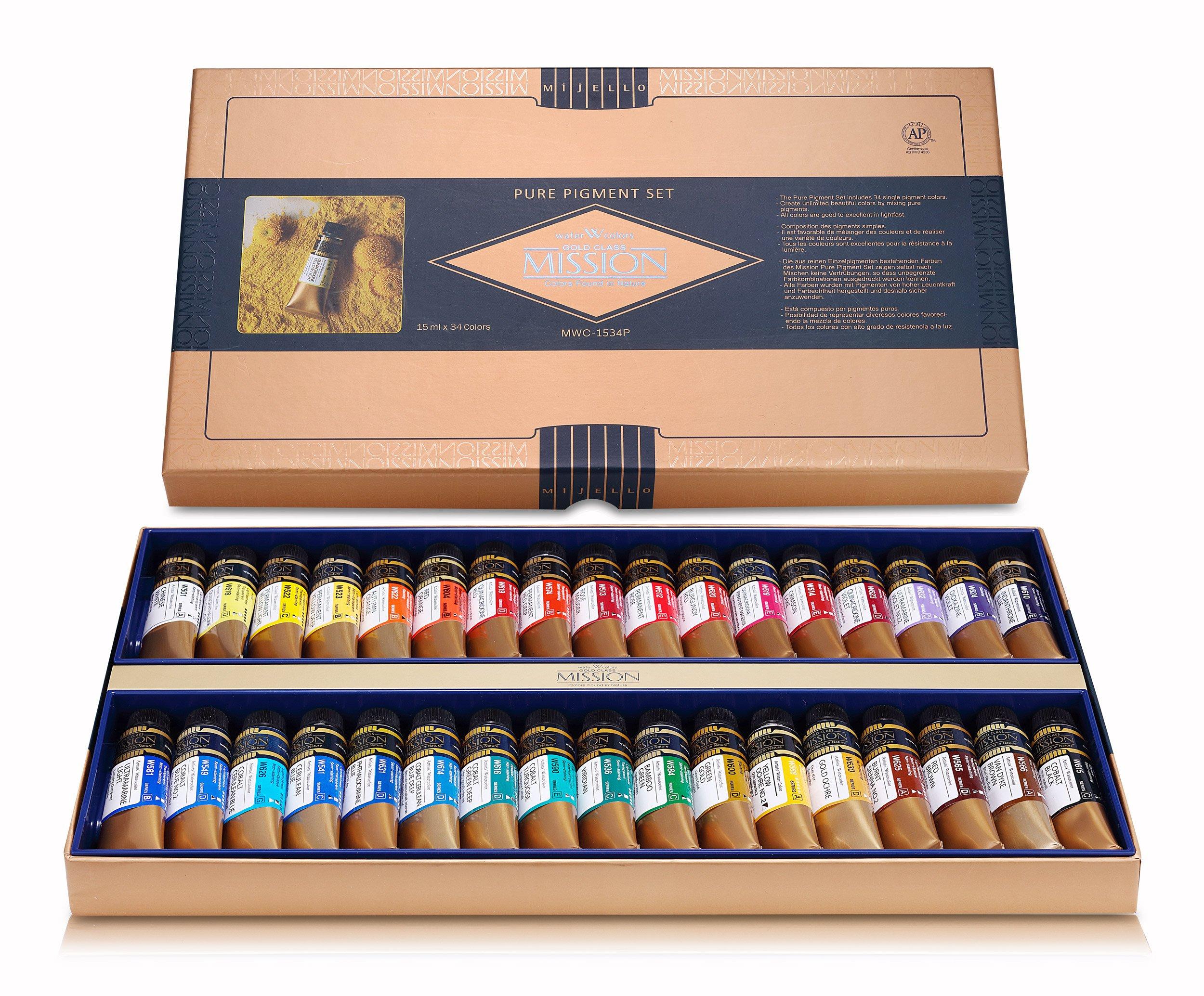 Mijello Mission Gold Class Pure Pigment Water Color MWC-1534P, 15ml 34 Colors with Water Brush by MIJELLO Co.,Ltd.