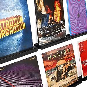 Karavella 6 Pc Vinyl Record Shelf Display; Beautiful Pine Wood Vinyl Record Wall Mount Floating Record Shelves for Albums; Vinyl Record Frame for Music Enthusiasts (Black)
