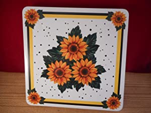 Yellow Sunflower Gas Burner Covers Whte 4 Piece