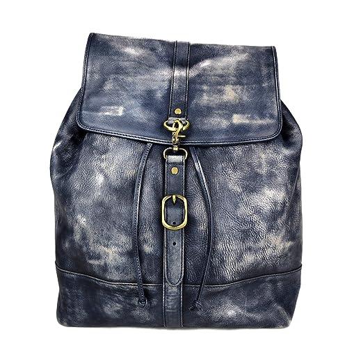 Mochila de piel vintage mochila piel lavada mochila hombre mujer mochila de viaje mochila de cuero