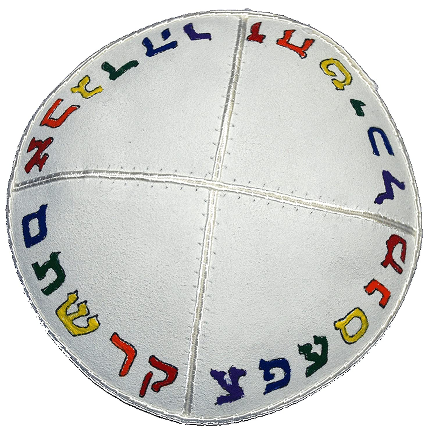 Hand-painted Kippah (Yarmulke) with the Hebrew Alphabet