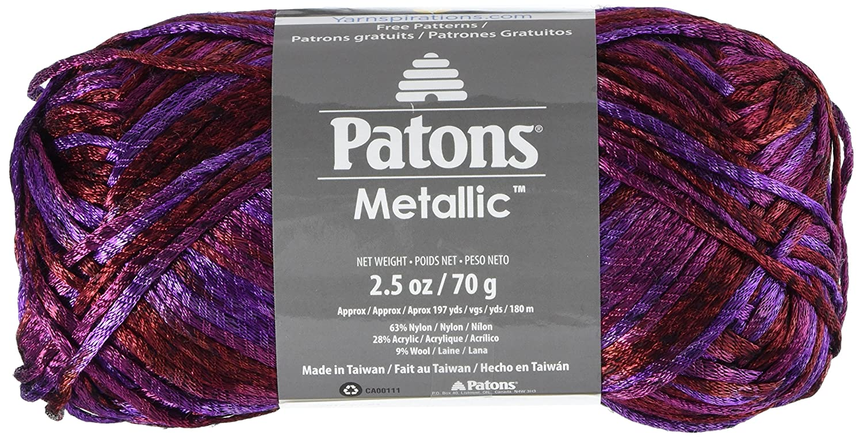 Amazon.com: Patons Metallic Yarn - (4) Medium Gauge - 3 oz - Black ...