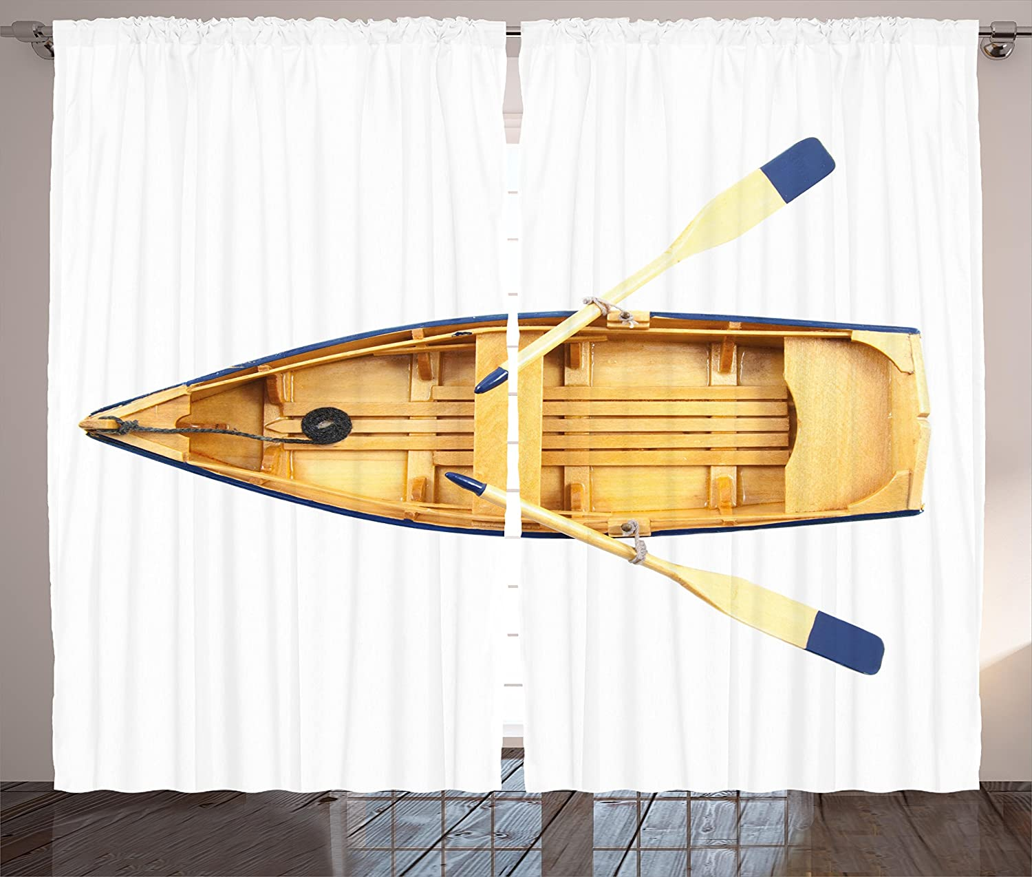 Amazon.com: Ambesonne Oar Curtains, Wooden Fishing Boat with Paddles ...